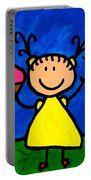 Happi Arte 3 - Little Girl Ice Cream Cone Art Portable Battery Charger by Sharon Cummings