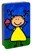 Happi Arte 3 - Little Girl Ice Cream Cone Art Portable Battery Charger