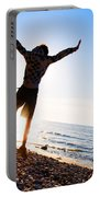 Happiness In The Beach Scenery Portable Battery Charger