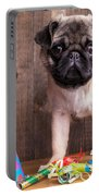 Happy Birthday Cute Pug Puppy Portable Battery Charger by Edward Fielding