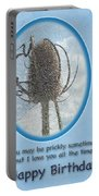 Happy Birthday Greetings - Dried Teasel Thistle Flower Head Portable Battery Charger