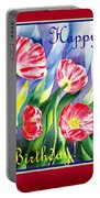 Happy Birthday Pink Poppies Portable Battery Charger