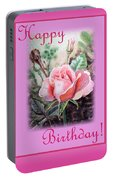 Happy Birthday Pink Rose  Portable Battery Charger