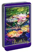 Happy Birthday Water Lilies  Portable Battery Charger