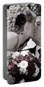 Happy Bride And Groom Kissing Portable Battery Charger