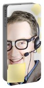 Happy Business Man Wearing Helpdesk Headset Portable Battery Charger