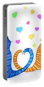 Happy Cats And Hearts Portable Battery Charger