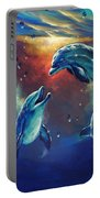 Happy Dolphins Portable Battery Charger by Marco Antonio Aguilar