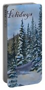 Happy Holidays Forest And Mountains Portable Battery Charger