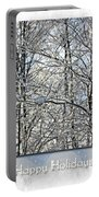 Happy Holidays Greeting - Icicles On Trees Portable Battery Charger