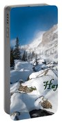 Happy Holidays Snowy Mountain Scene Portable Battery Charger