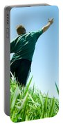 Happy Man On The Summer Field Portable Battery Charger