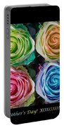 Happy Mothers Day Hugs Kisses And Colorful Rose Spirals Portable Battery Charger