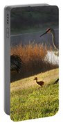 Happy Sandhill Crane Family Portable Battery Charger