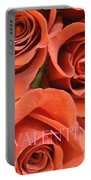Happy Valentine's Day Pink Lettering On Orange Roses Portable Battery Charger