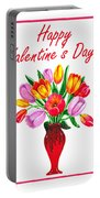 Happy Valentines Tulip Bouquet Portable Battery Charger