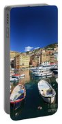 Harbor With Fishing Boats Portable Battery Charger