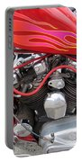 Harley Close-up Pink And Red Flames Portable Battery Charger