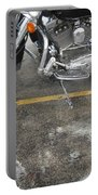 Harley Close-up Rain Reflections Wide Portable Battery Charger