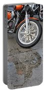 Harley Reflection In Rain  Portable Battery Charger