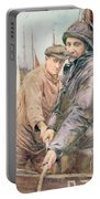 Hauling In The Net Portable Battery Charger by Henry Meynell Rheam