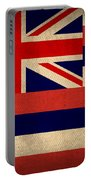 Hawaii State Flag Art On Worn Canvas Portable Battery Charger