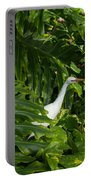 Hawaiian Garden Visitor - A Bright White Egret In The Lush Greenery Portable Battery Charger