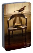 Hawk And Fedora On Chair Portable Battery Charger