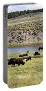 Hayden Valley Bison Herd In Yellowstone National Park Portable Battery Charger