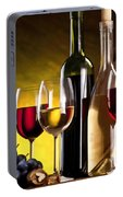 Hdr Style Wine Glasses Bottle Cask And Grapes Portable Battery Charger