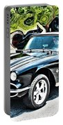Chevrolet Corvette Vintage With Curly Background Portable Battery Charger