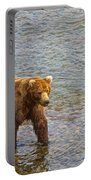 Head Grizzly Bear And Sea Gull In Moraine River In Katmai Np-ak  Portable Battery Charger