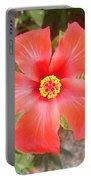 Head On Shot Of A Red Tropical Hibiscus Flower Portable Battery Charger