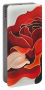 Healing Painting Baby Sleeping In A Rose Portable Battery Charger