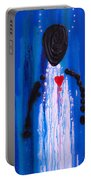 Heart And Soul - Angel Art Blue Painting Portable Battery Charger by Sharon Cummings
