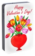 Heart Full Of Tulips Valentine Bouquet  Portable Battery Charger