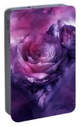Heart Of A Rose - Burgundy Purple Portable Battery Charger