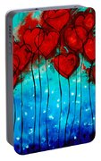 Hearts On Fire - Romantic Art By Sharon Cummings Portable Battery Charger