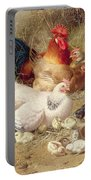 Hens Roosting With Their Chickens Portable Battery Charger