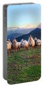 Herd Of Sheep In The Sunset Portable Battery Charger