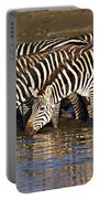 Herd Of Zebras Drinking Water Portable Battery Charger