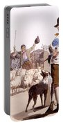 Herdsmen Of Sheep And Cattle, From The Portable Battery Charger by William Henry Pyne