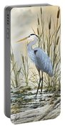 Heron And Cattails Portable Battery Charger by James Williamson