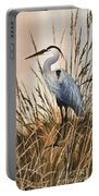 Heron In Tall Grass Portable Battery Charger