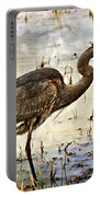 Heron On A Cloudy Day Portable Battery Charger