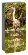 Heron With Quote Photograph  Portable Battery Charger