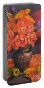 Hibiscus And Cannas In Balinese Jug Portable Battery Charger