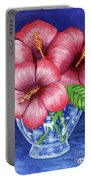 Hibiscus In Glass Vase Portable Battery Charger