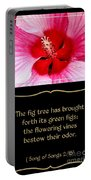 Hibiscus Closeup With Bible Quote From Song Of Songs Portable Battery Charger
