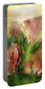 Hibiscus Sky - Peach And Yellow Tones Portable Battery Charger